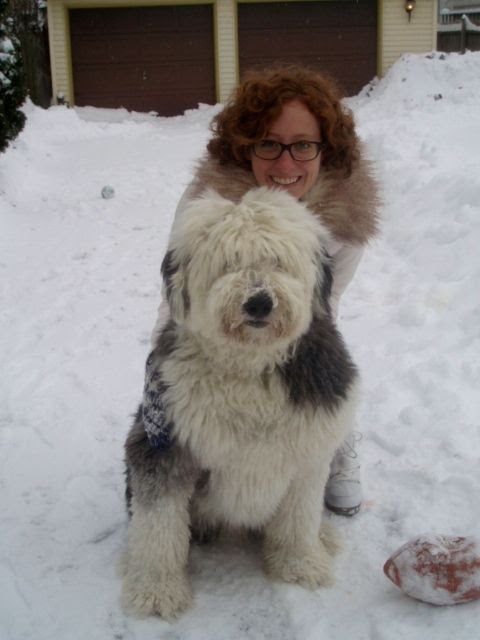 Colleen and her Old English Sheepdog, MacGregor