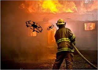 Drones aiding a firefighter (artist's conception)