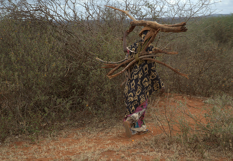 African woman carrying fuelwood