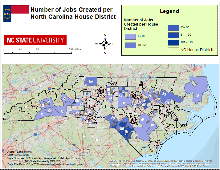 Nc One Map Data Cardinality   GIS 520 PORTFOLIO: Lana Morris
