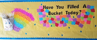 Picture of a Tye River bullentin board showing how students are participating in the Have You Filled a Bucket Today program
