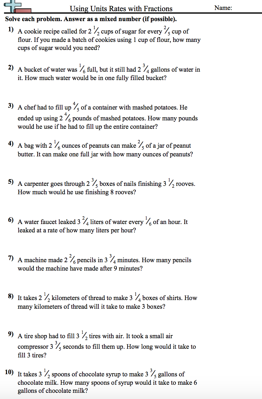 Workbooks simple interest worksheets for 8th grade : Unit Rates Involving Fractions Worksheet - NMS Self-Paced Math