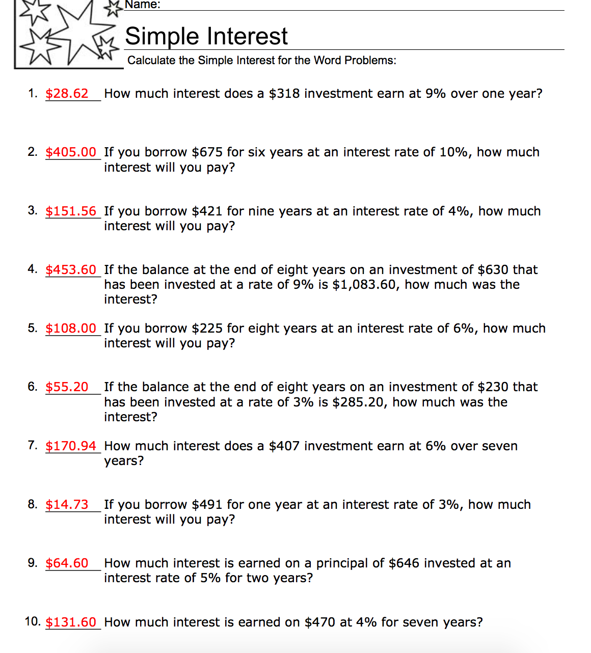 Simple Interest Math Worksheets Free Worksheets Library