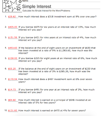 Simple Interest Worksheet Answers Nms Self Paced Math