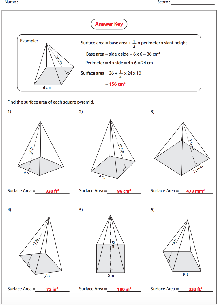 Surface Area of Square Pyramids - Answers - NMS Self-Paced Math