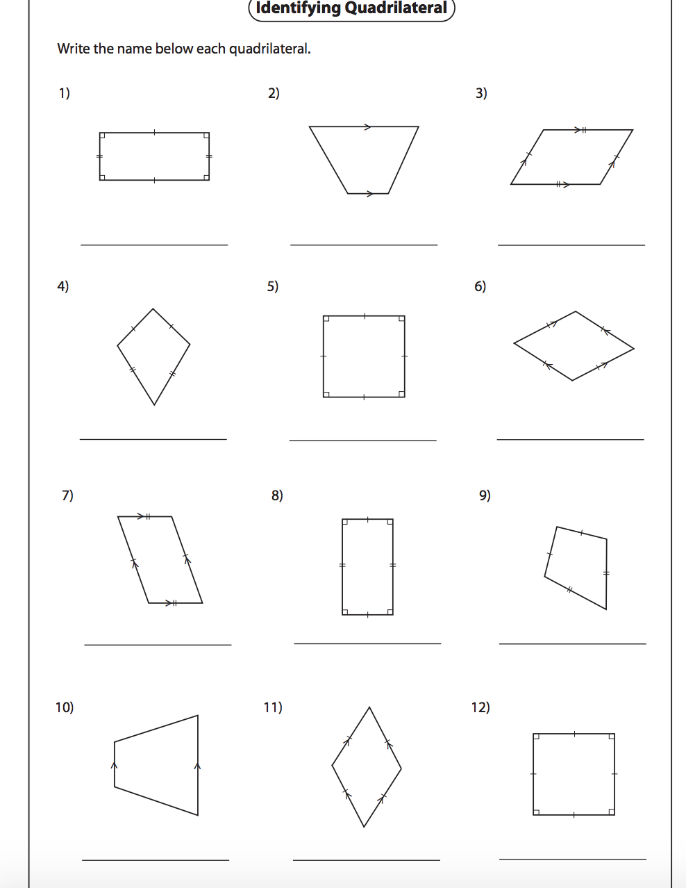 Worksheets Quadrilaterals Worksheet classifying quadrilaterals worksheet nms self paced math worksheet