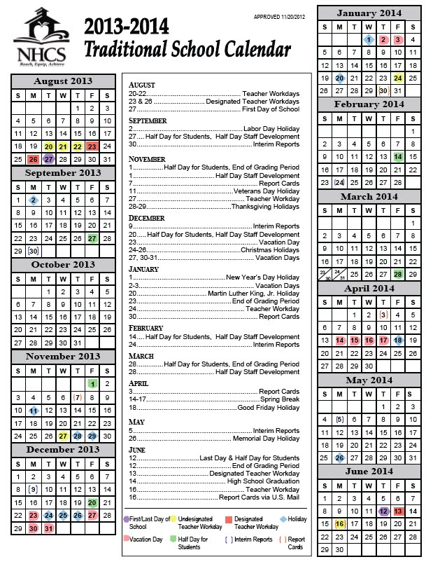 New Hanover County School Calendar.Class Calendar Emily Cottrell