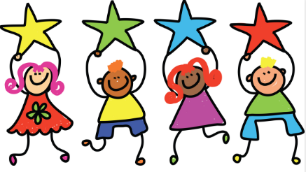 Clip art of four children holding stars over their heads