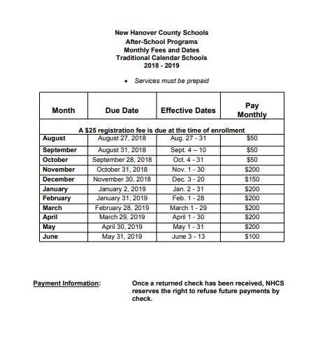 New Hanover County School Calendar.2018 2019 Payment Information After School Program