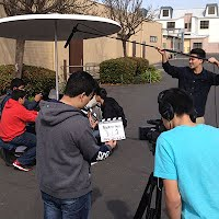 Digital Video Arts students shooting a scene for a short film.