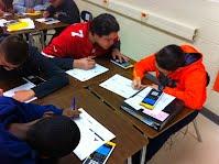 Luna Middle School students using the TI-Nspire calculators