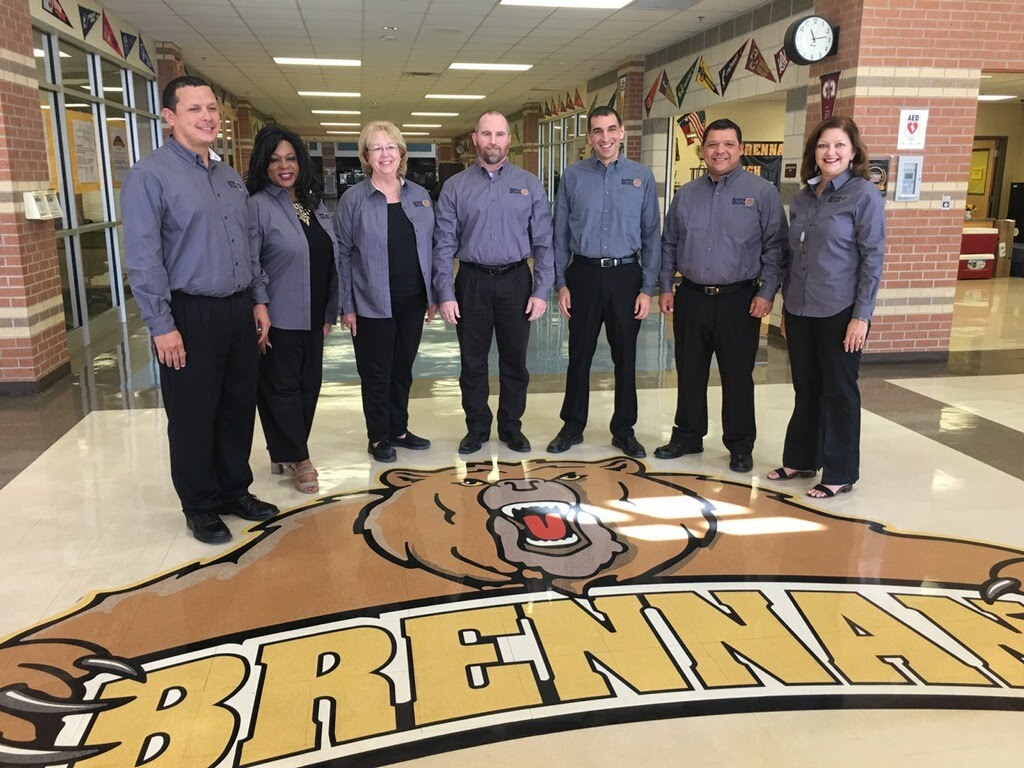 Assistant Principals Jacob Salinas, Michelle Craig, Academic Dean Margaret Greff, Principal John Trimble, Vice Principal Robert Martinez, Assistant Principals Eric Franco and Regina Prewitt-Campbell look forward to another successful year and to welcoming back all the Brennan Bears, their families and the community.
