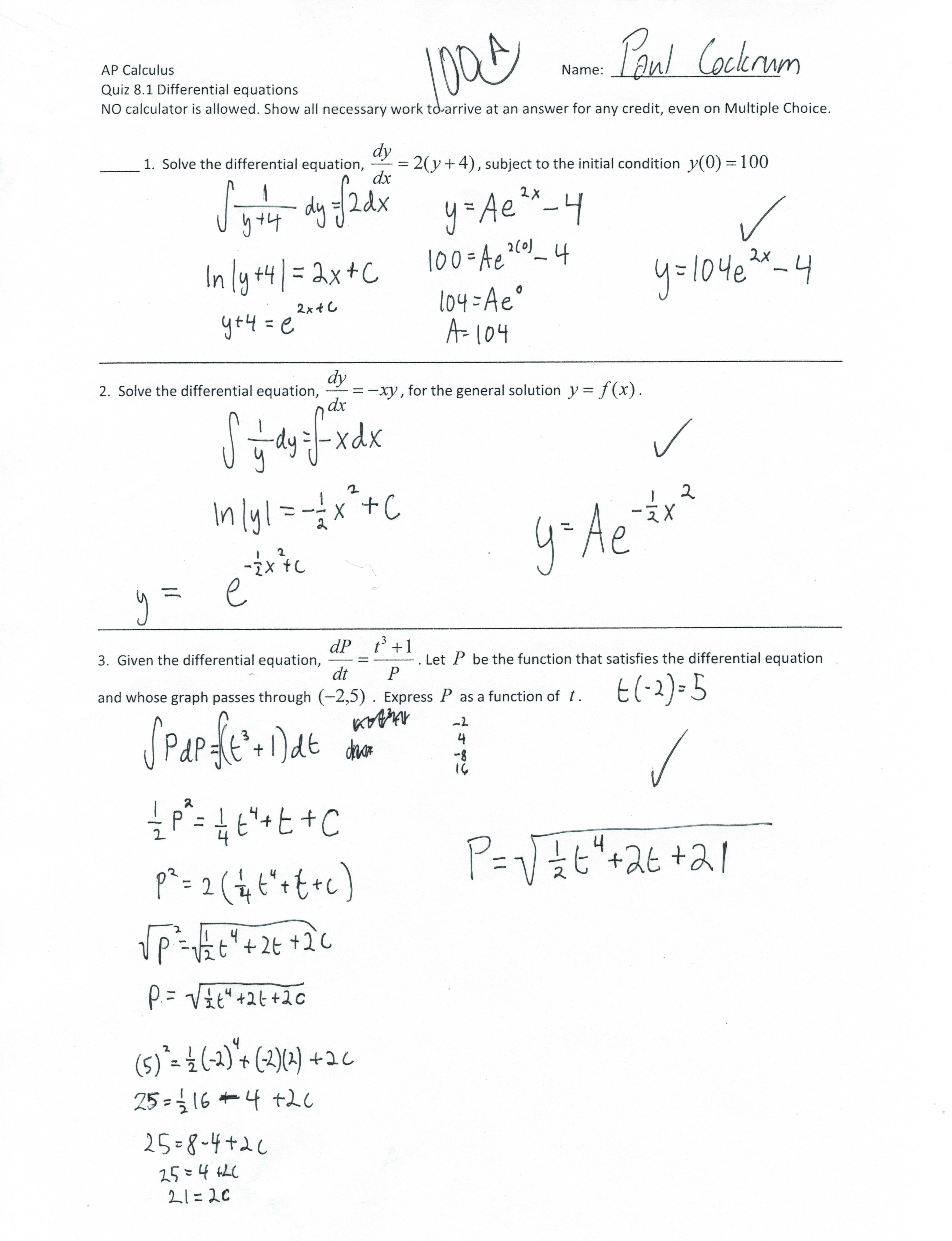 Ap Calculus Worksheet Differential Equations Ap Calculus Worksheet