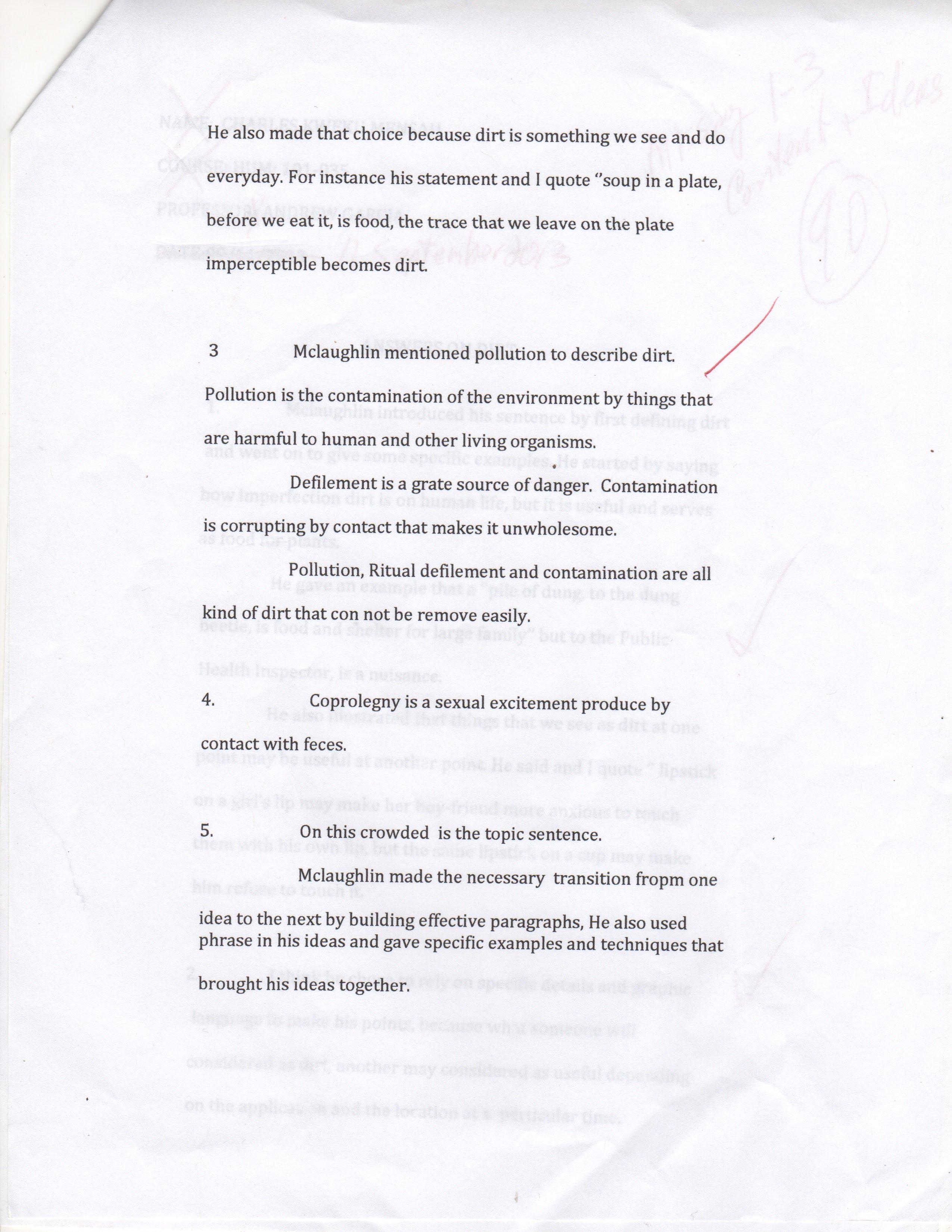 diagnostic essay example