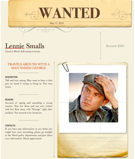 Quotes About Curley S Wife In Of Mice And Men: Mice And Men Lenny