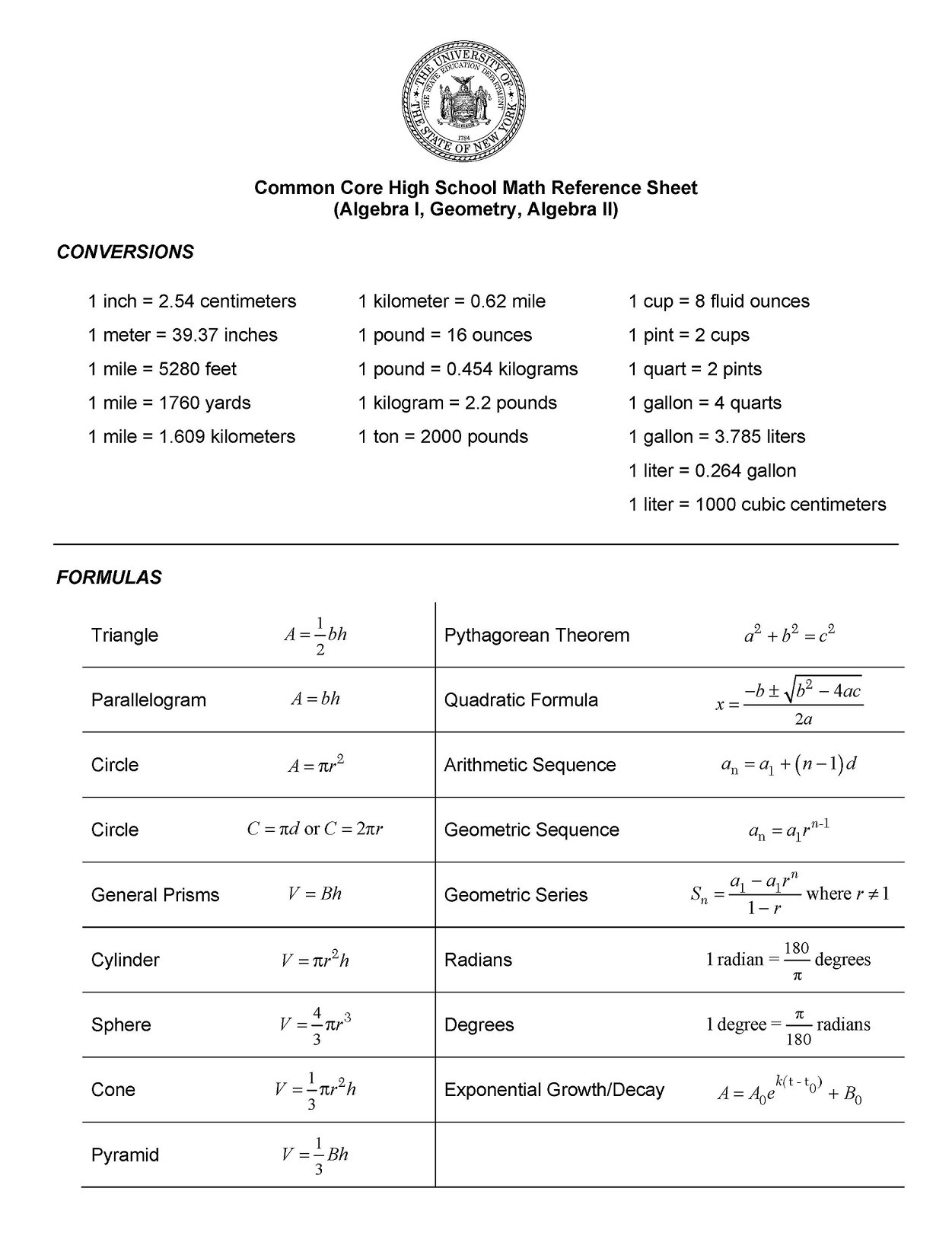 Regents Formula Sheet - Mr  Chanowsky's Math Page
