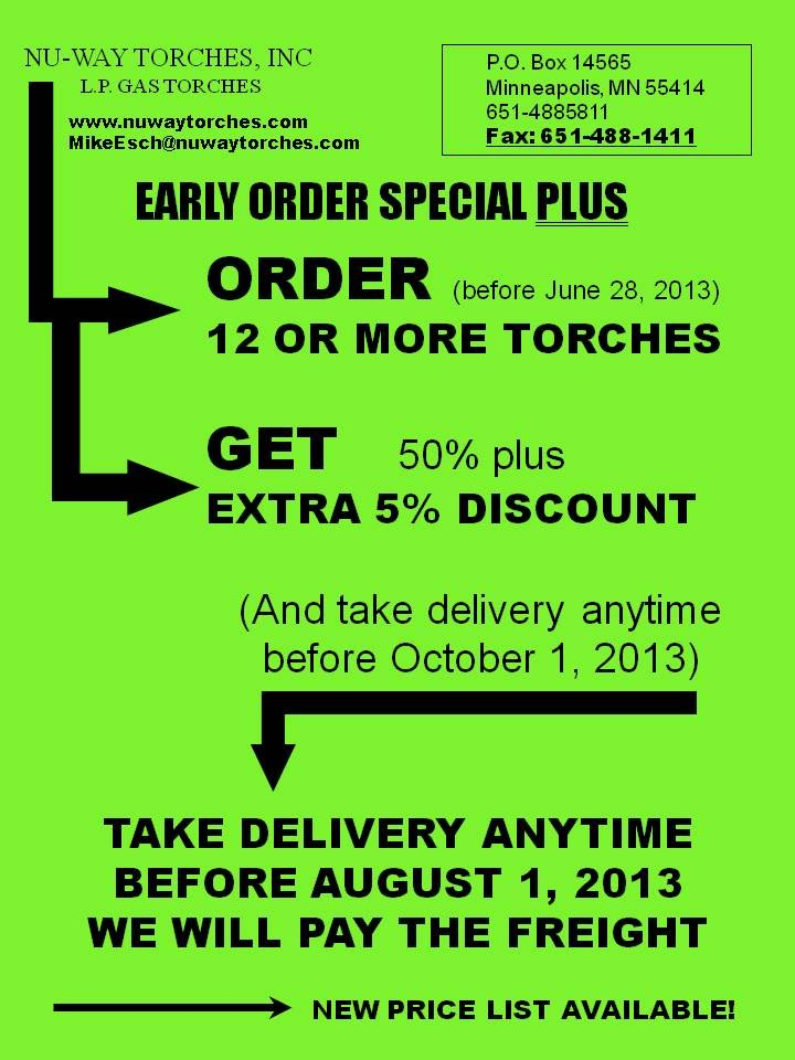 Nu-Way Torches Special Discount