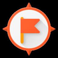 orange circle with orange flag in the center