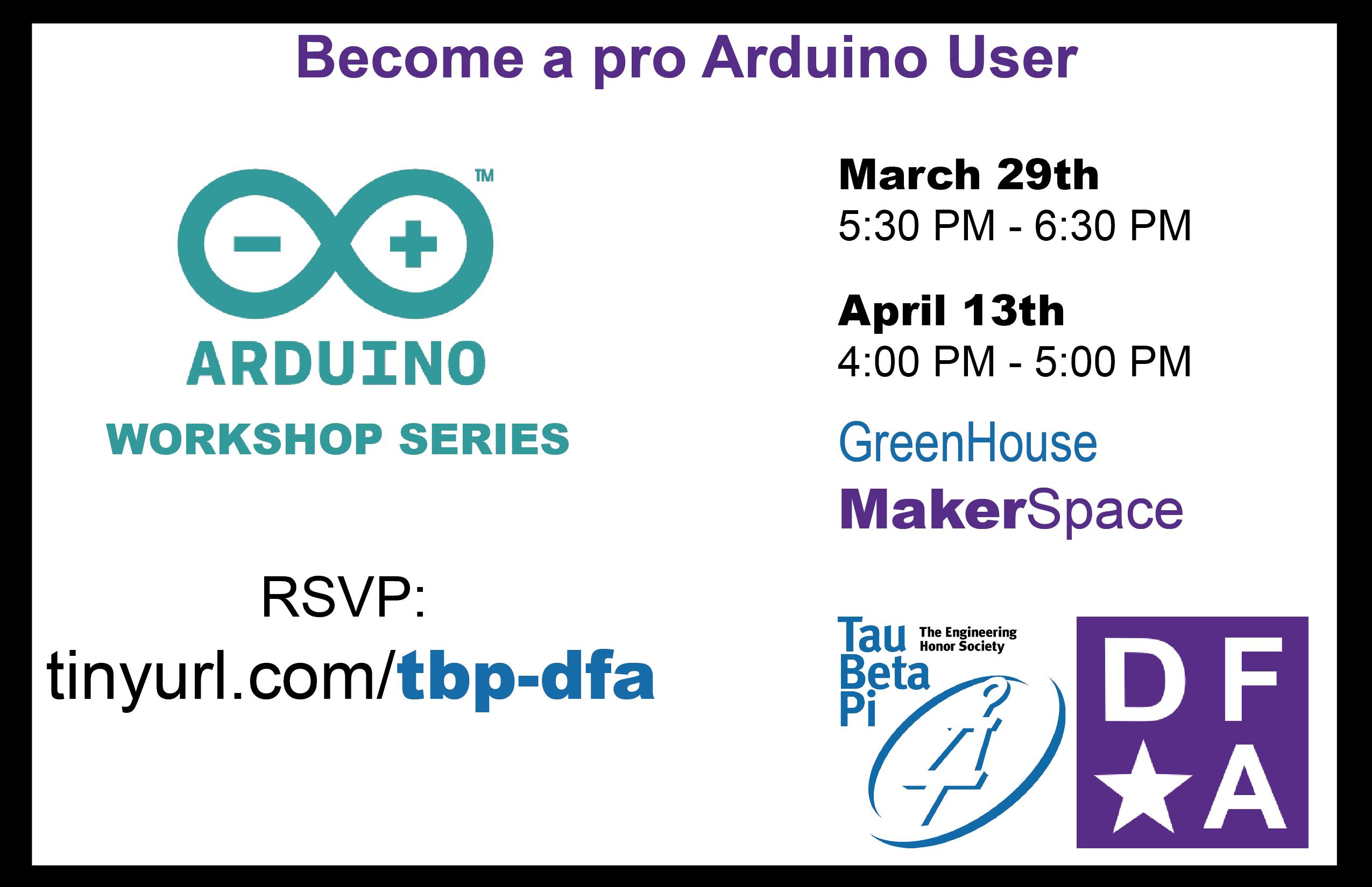 https://www.eventbrite.com/e/arduino-workshop-series-tickets-32941719570