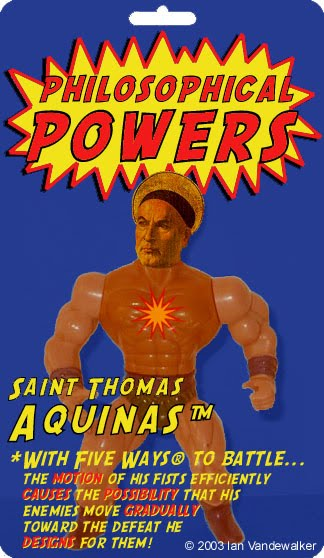 Action figure of St Thomas Aquinas in packaging