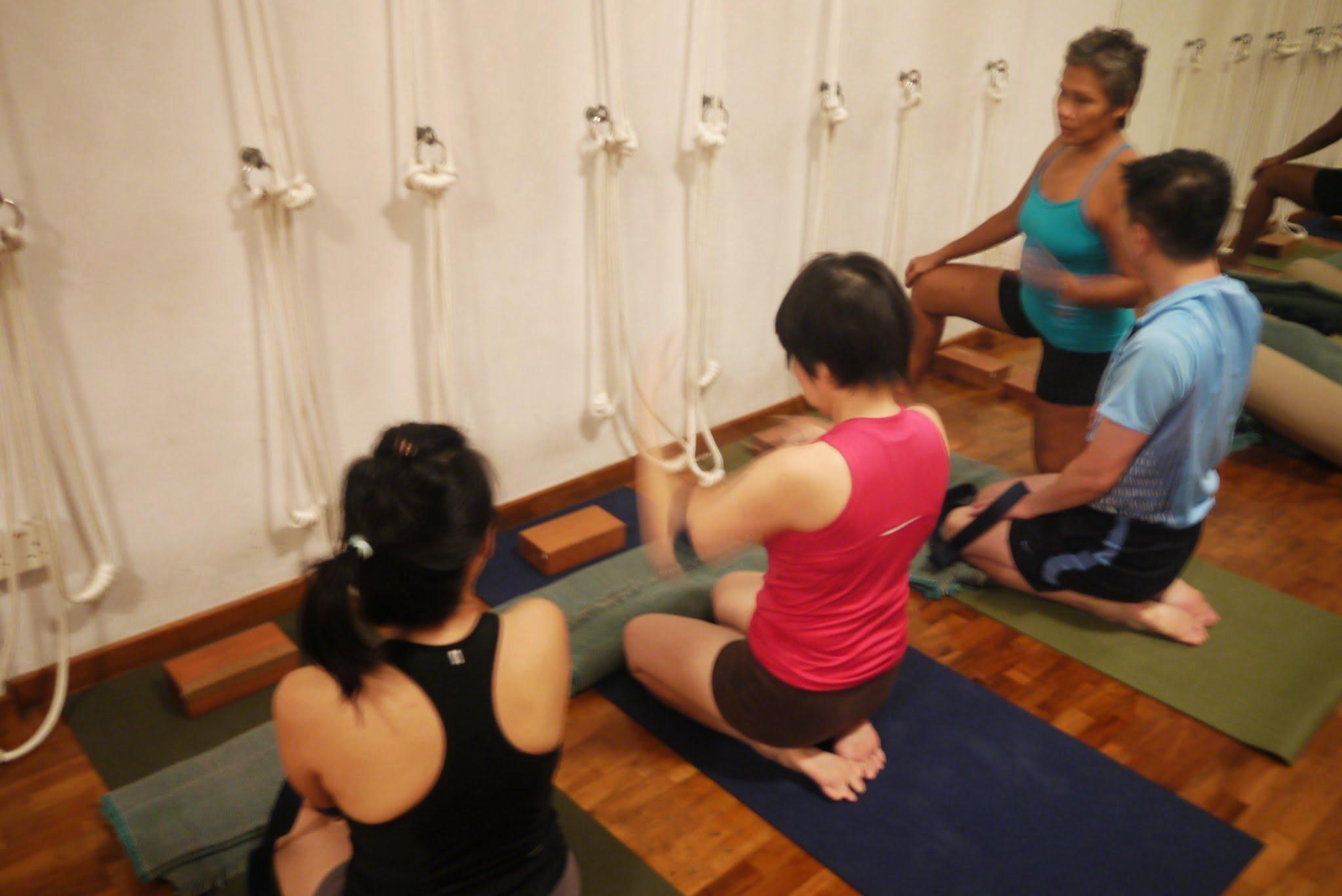 Mala teaching a yoga class