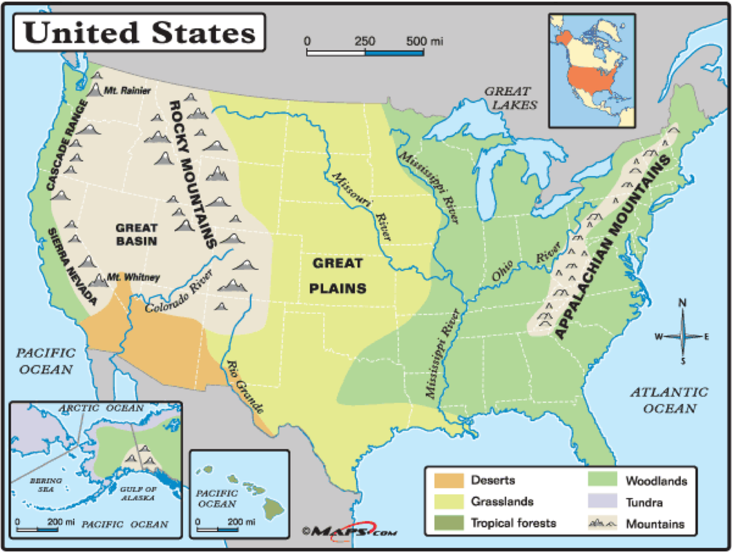 USA Physical Map Cweaver - Map of usa with lakes