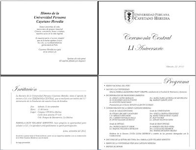 Tarjeta De Invitación 51 Aniversario Upch Agenda