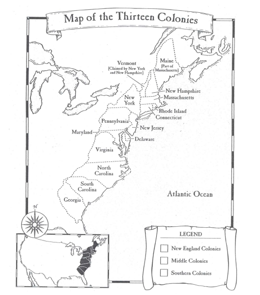 Colonial regions map whipp for 13 colonies map coloring page