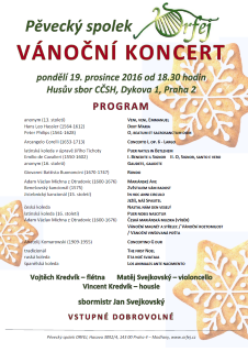 Koncert 19. 12. 2016 18.30, Husův sbor CČSH, Dykova 1, Praha.