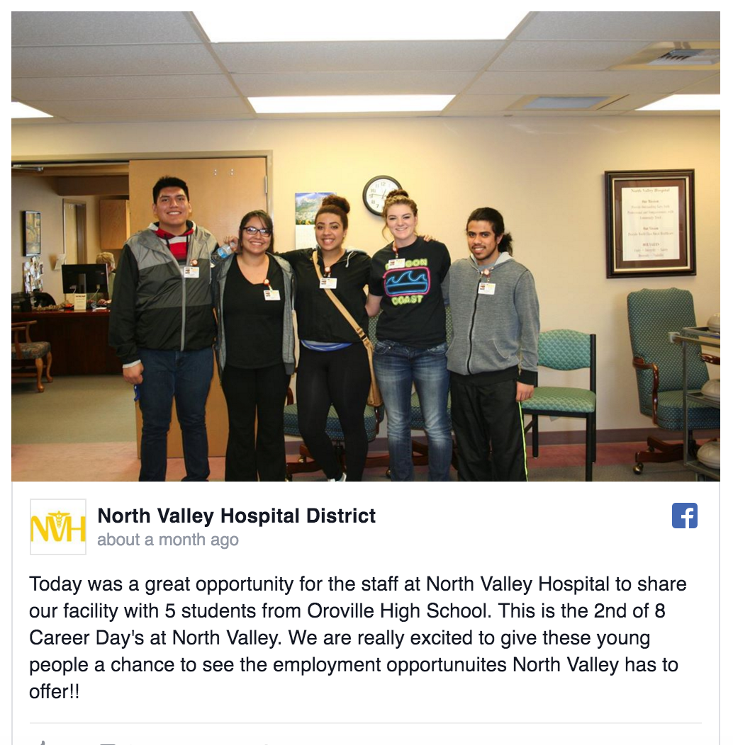north valley hospital and oroville high school students job ohs job shadow students