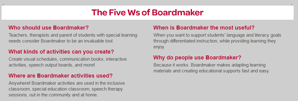 Boardmaker Special Education Instructional Resources