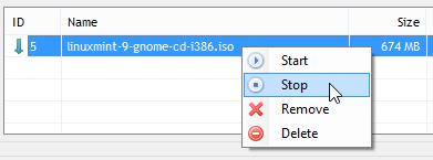 Stop a torrent