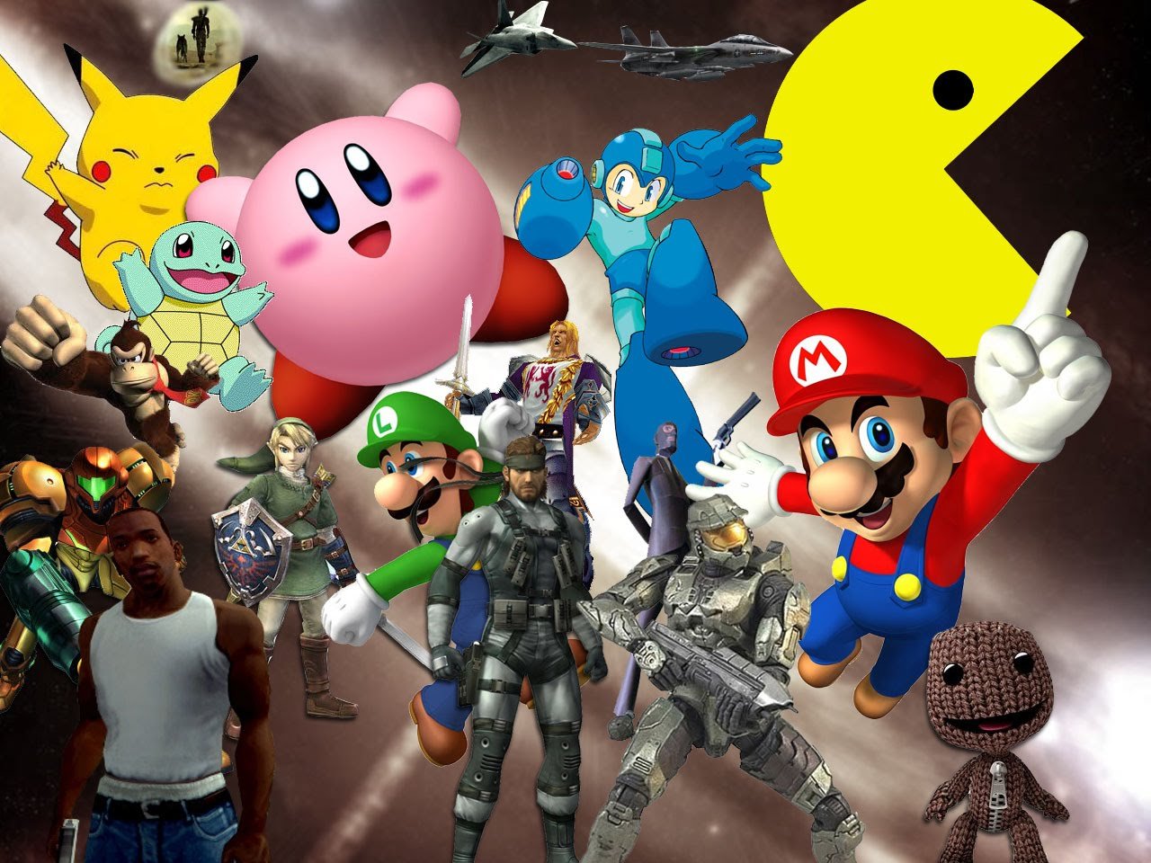 Video Game Character Collage Wallpaper Gaming for a Go...