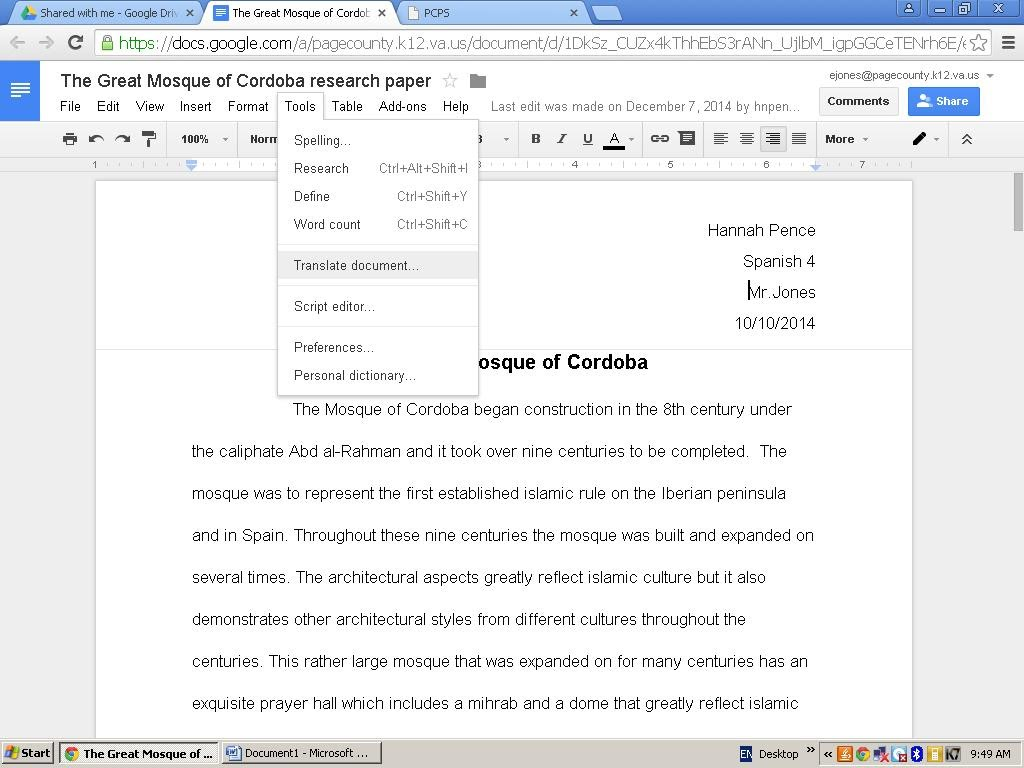 Steps to completing a research paper lhs spanish department for Translate my document to spanish