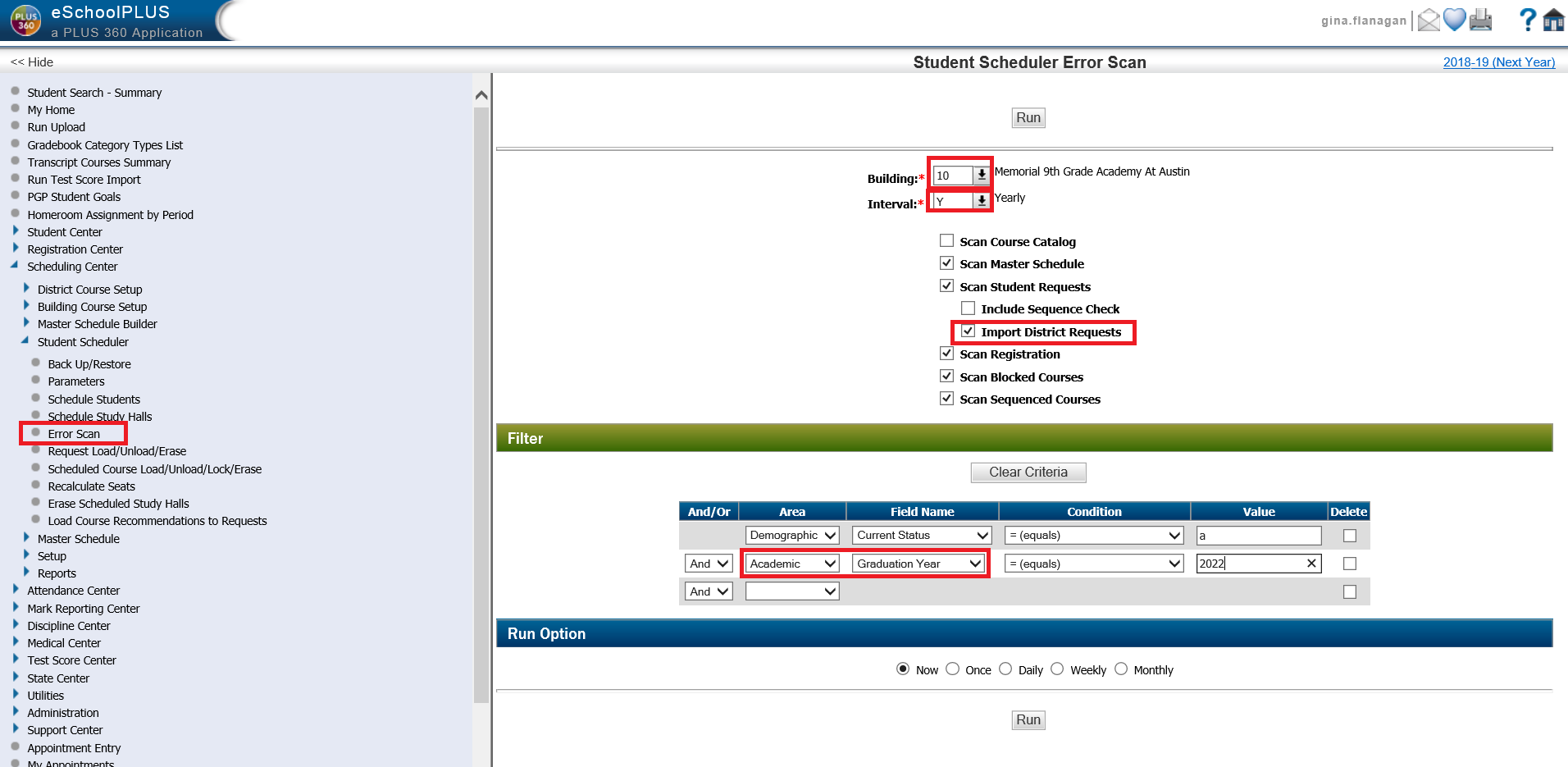 student scheduler error scan cognos student requests reports mis