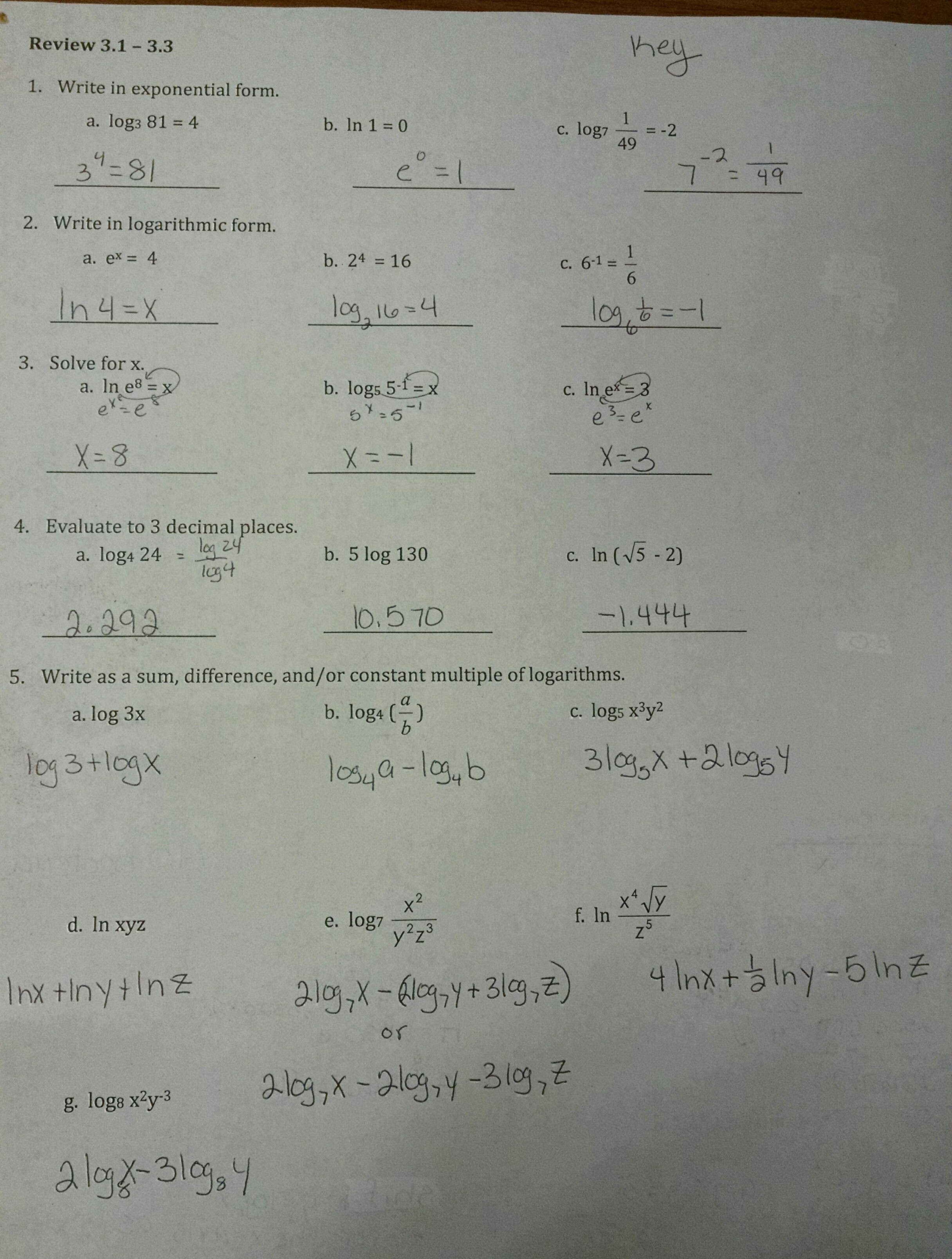 HOMEWORK & ASSIGNMENTS Algebra 3