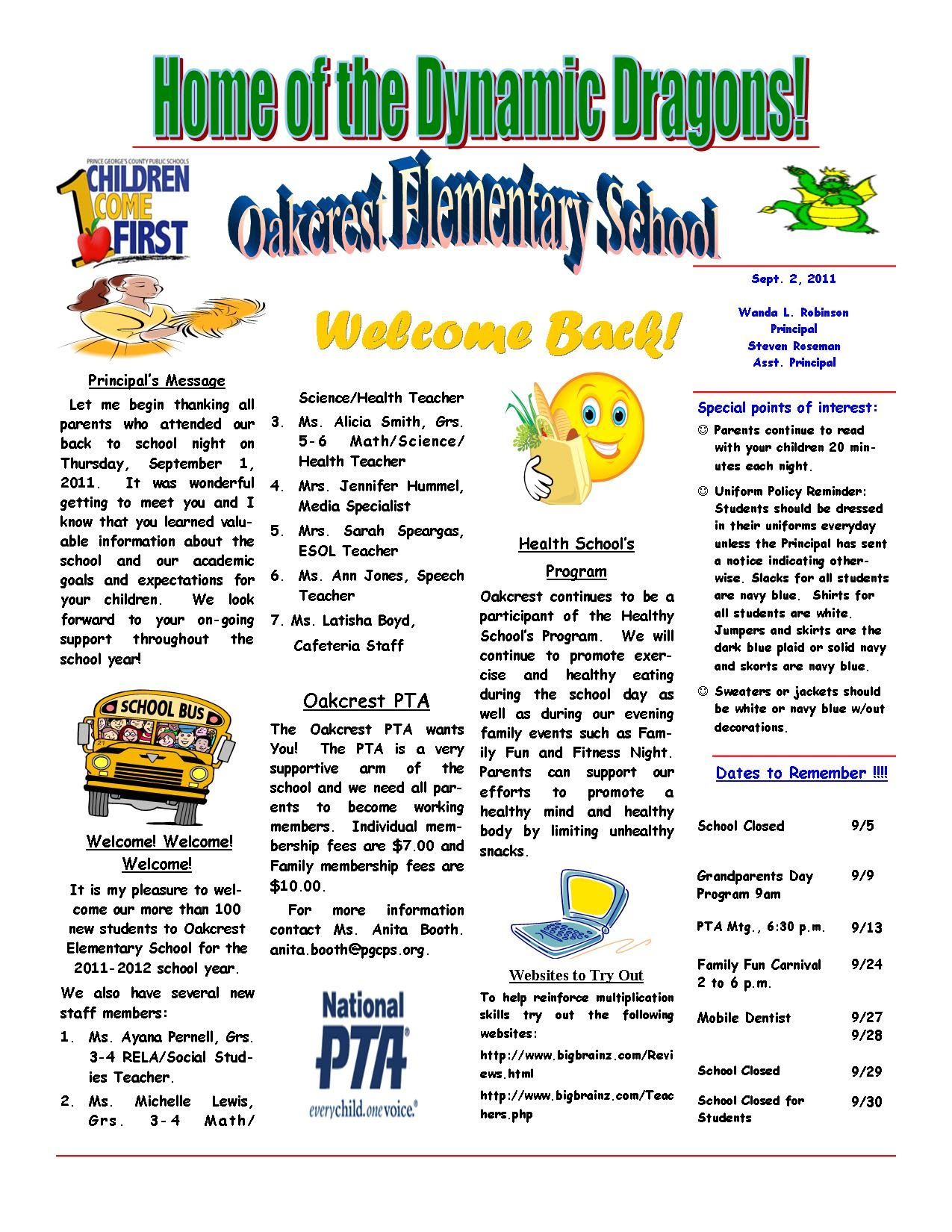 Newsletters and Announcements - OAKCREST Elementary School