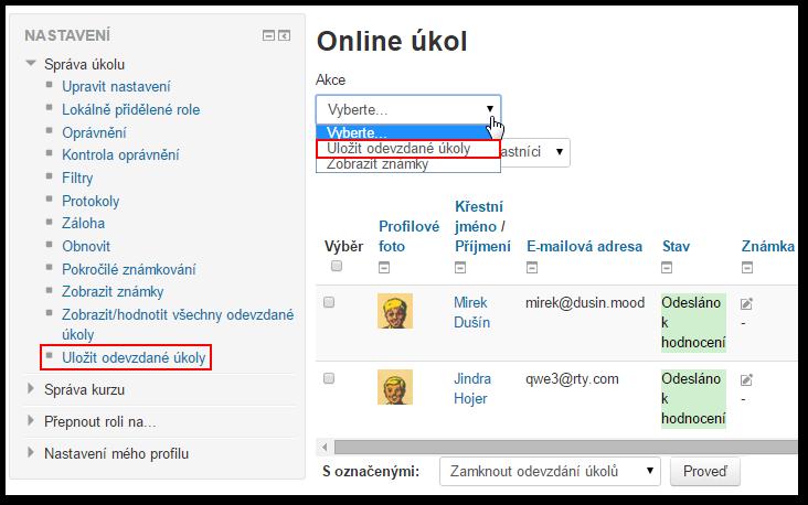 Výběr jména profilu online