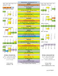 PHS 2017-2018 School Calendar