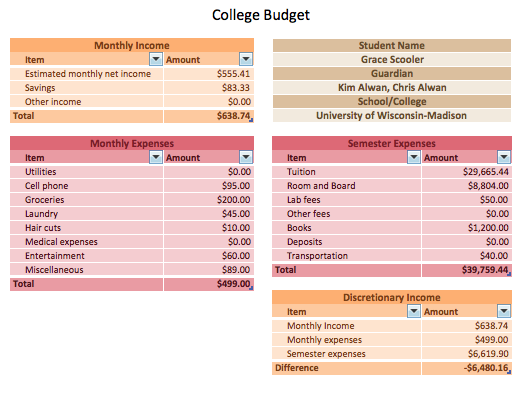 college student budget sheet vatoz atozdevelopment co