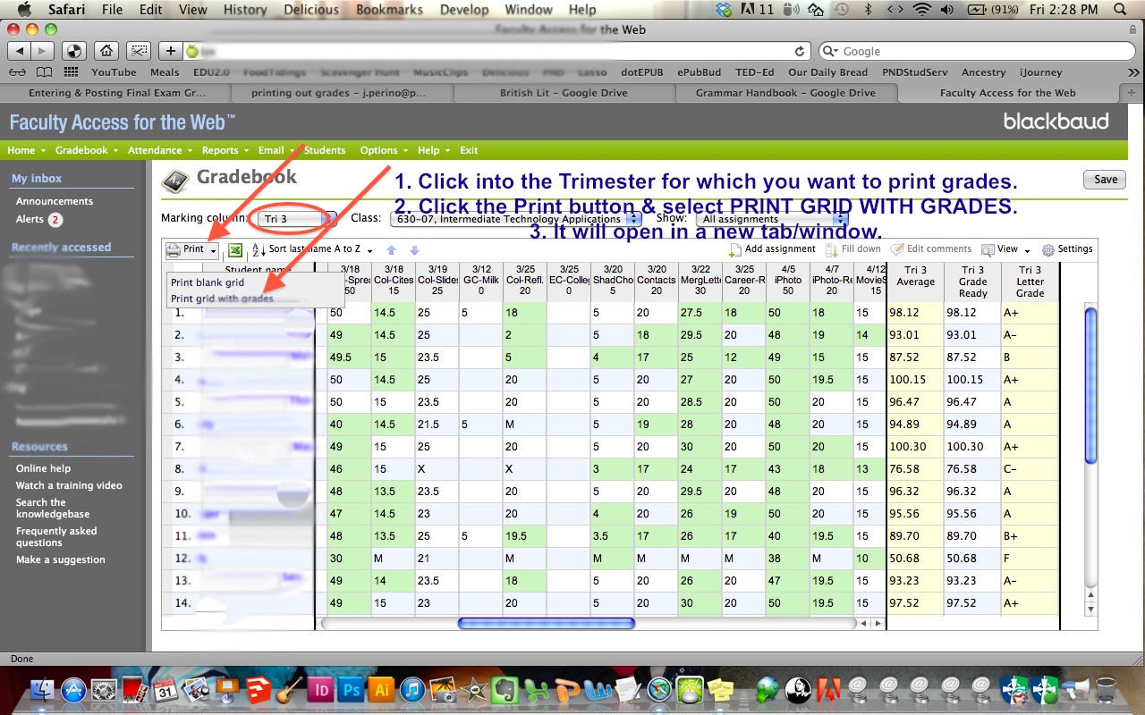 printing gradebook spreadsheets final grades pnd ijourney