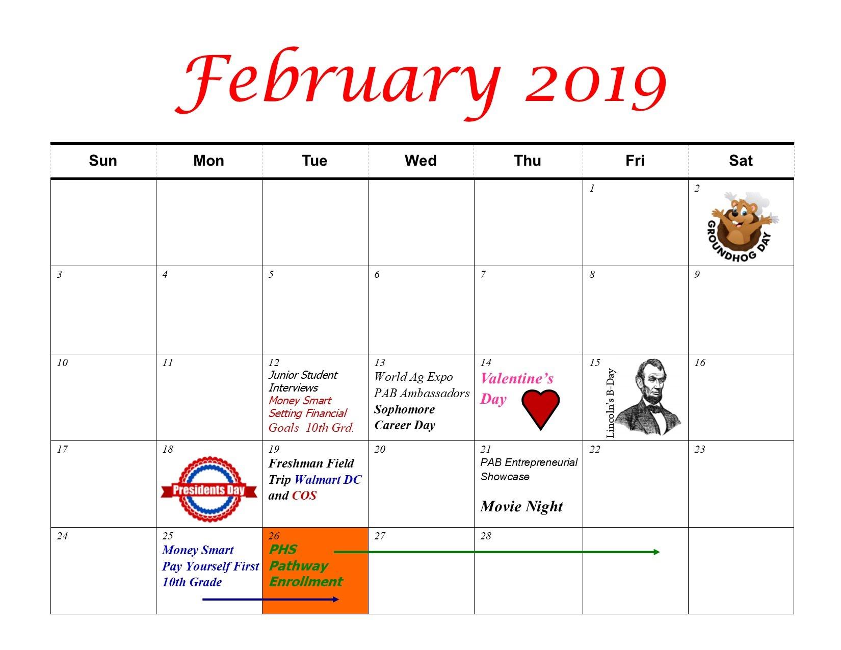February 2019 Calendar First School Calendars   PAB   PAB