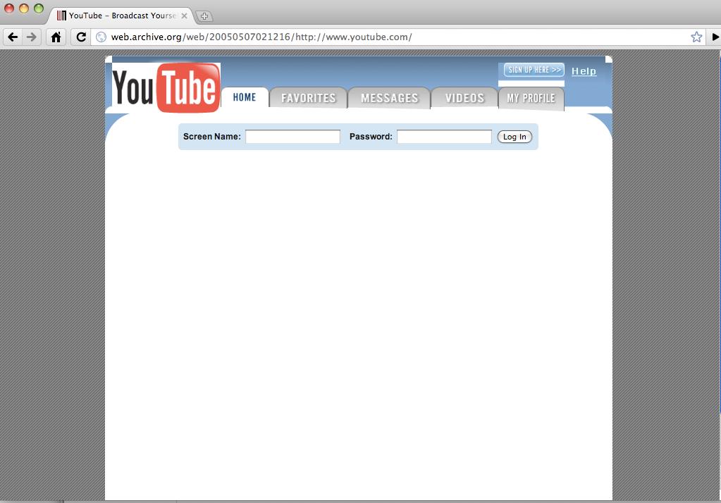 you tube web page