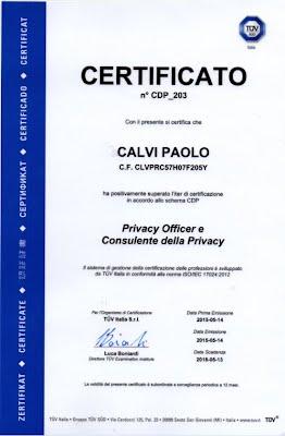 certificato TUV CDP