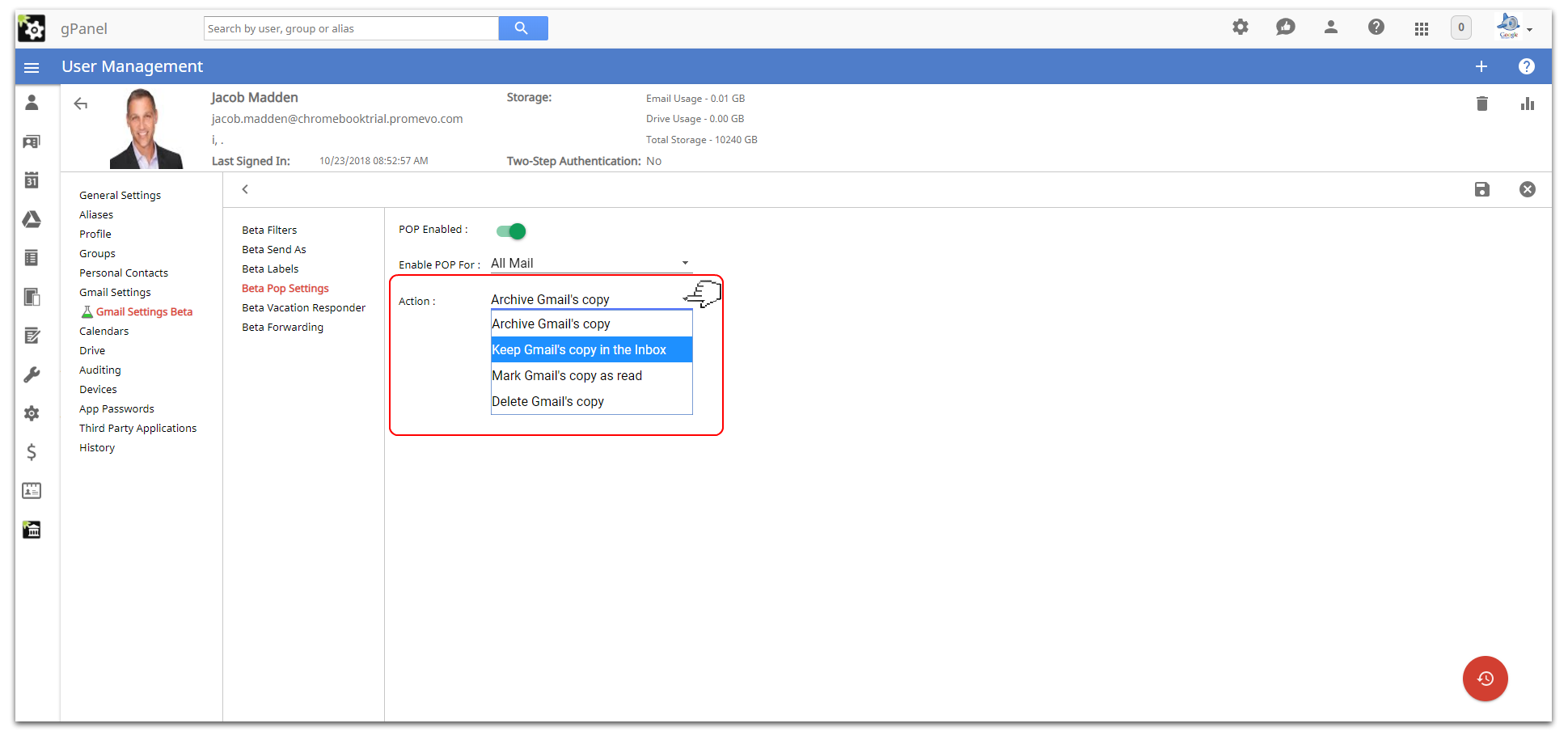Gmail setting Beta: - gPanel for G Suite Help