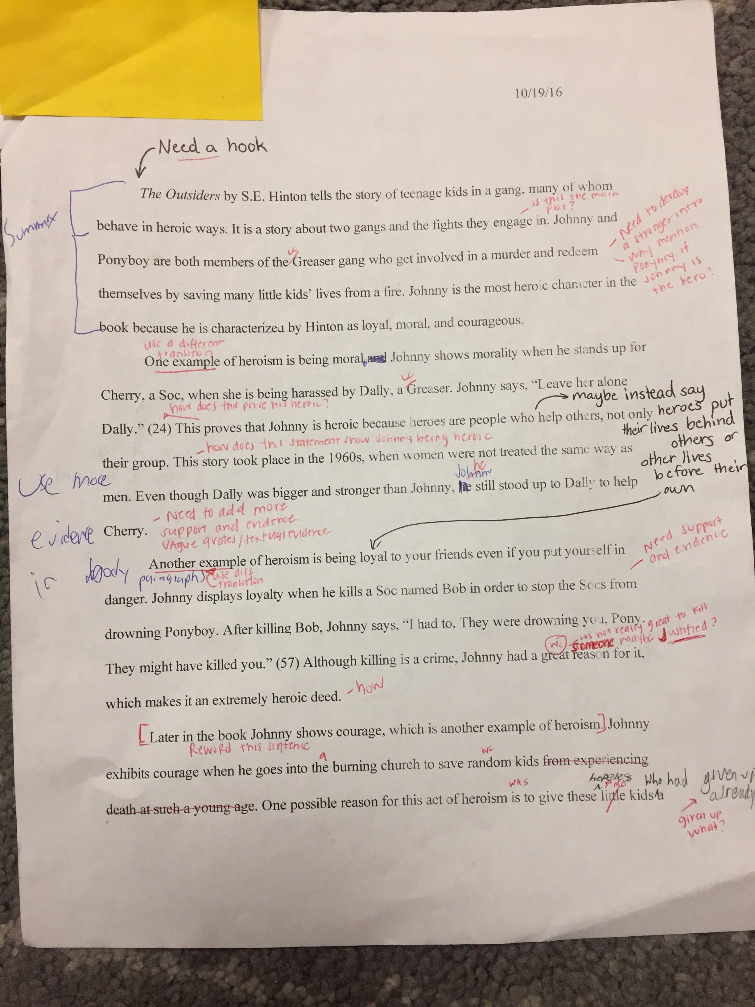 7th grade english i provided feedback for students on their first draft and allowed them time during class and time at home to make the necessary revisions