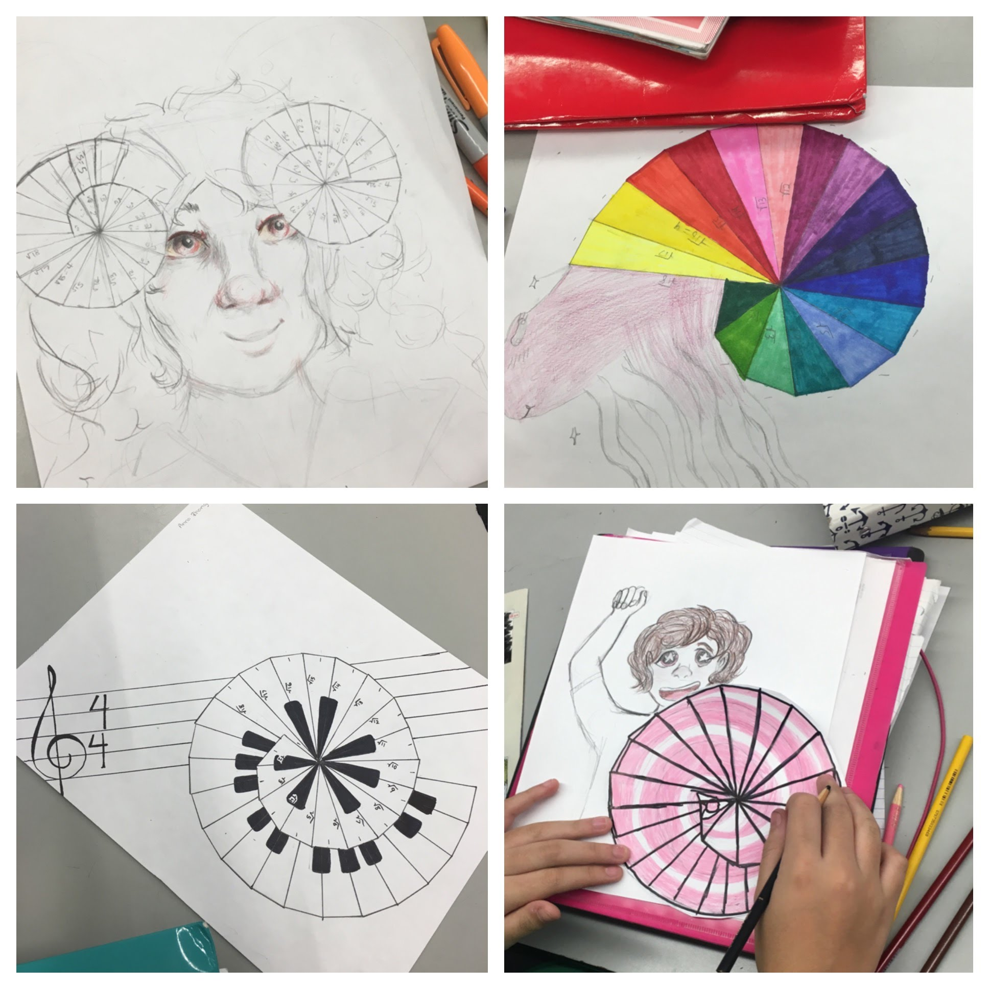 wheel of theodorus art project ideas. students were given a task where they had to draw the wheel of theodorus, which ultimately creates triangular shell and be creative with their theodorus art project ideas