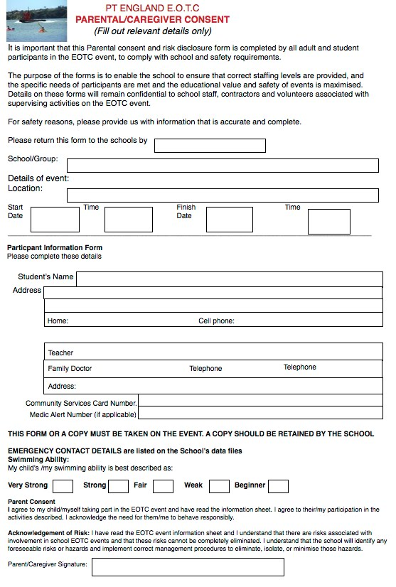 Parent Consent Form  Pt England Policy