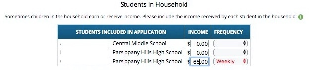 Income - Students in Household