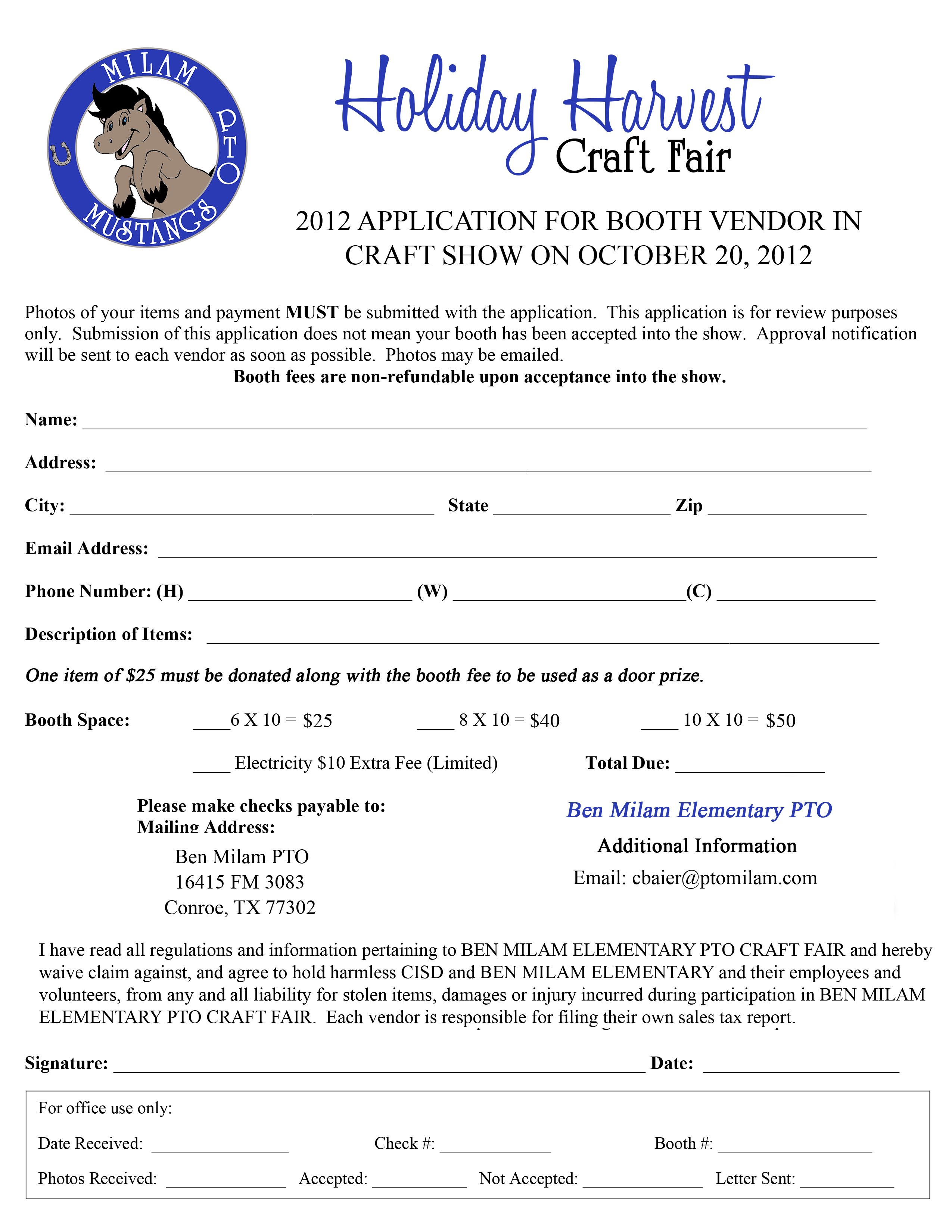 Craft Show Application Form Template
